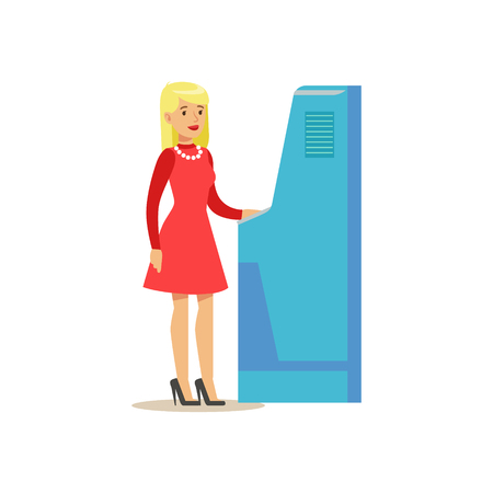 account management: Bank Visitor Using ATM Cash Machine. Bank Service, Account Management And Financial Affairs Themed Vector Illustration