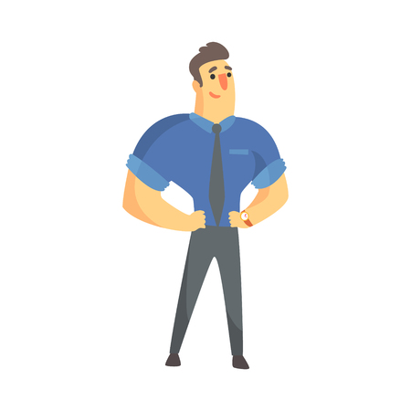 Content Successful Businessman Top Manager In A Short Sleeve Shirt, Office Job Situation Illustration Illustration
