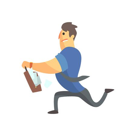 Businessman Top Manager In A Short Sleeve Shirt Running With Suitcase Full Of Papers, Office Job Situation Illustration Illustration