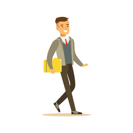 Businessman Walking Fith Folder, Business Office Employee In Official Dress Code Clothing Busy At Work Smiling Cartoon Characters
