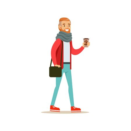 Hipster Guy With A Beard Holding A Paper To Go Coffee Cup Walking On The Street Vector Illustration Illustration