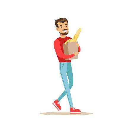 walk away: Smiling Man With A Beard Carrying Paper Bag With Fresh Bread Bought In a Bakery Shop Vector Illustration Illustration