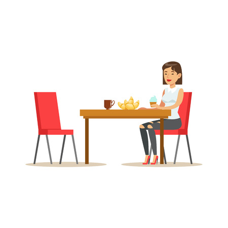 Woman Having Sweet Lunch, Drinking Coffee and Eating Pastry At Bakery Shop Table Vector Illustration