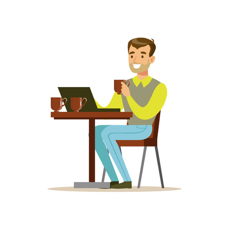 Man Drinking His Third Cup Of Coffee In The Coffee Shop While Video Chatting On His Lap Top Vector Illustration