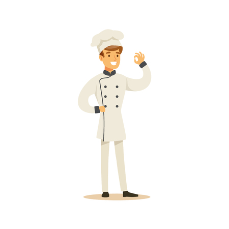 Man Professional Cooking Chef Working In Restaurant Wearing Classic Traditional Uniform Showing OK Gesture Cartoon Character