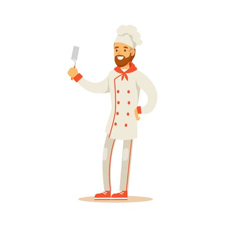 cooking chef: Bearded Man Professional Cooking Chef Working In Restaurant Wearing Classic Traditional Uniform Holding Spatula Cartoon Character