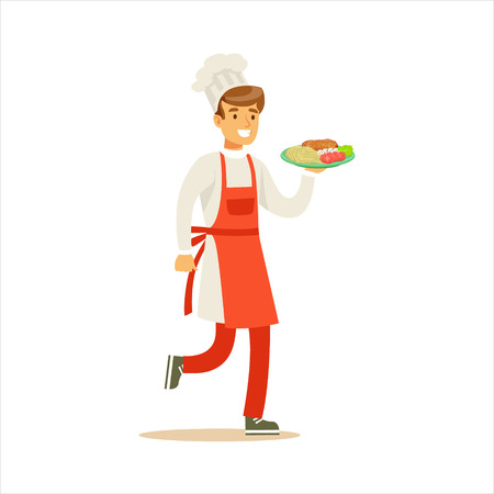 Man Professional Cooking Chef Working In Restaurant Wearing Classic Traditional Uniform Delivering Ready Plate Cartoon Character Illustration