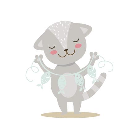 Petit chaton mignon Girly gris avec la guirlande de papier sur la chaîne, illustration de situation de vie de caractère animal de bande dessinée