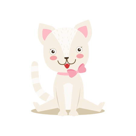 Petit chaton mignon Girly blanc avec collier en arc, Cartoon Pet Character personnage Situation Situation