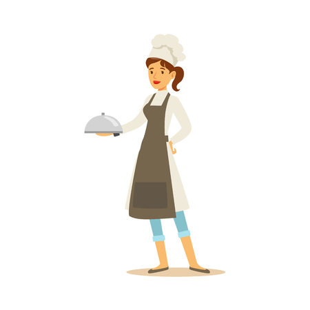 Woman Professional Cooking Chef Working In Restaurant Wearing Classic Traditional Uniform With Ready Dish Cartoon Character Illustration