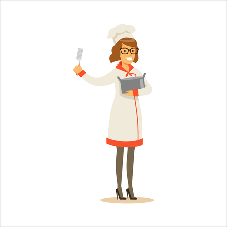 Woman Professional Cooking Chef Working In Restaurant Wearing Classic Traditional Uniform With Pot And Spatula Cartoon Character