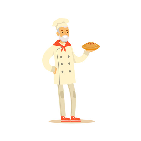 ready cooked: Old Man Professional Cooking Chef Working In Restaurant Wearing Classic Traditional Uniform Holding A Pie Cartoon Character
