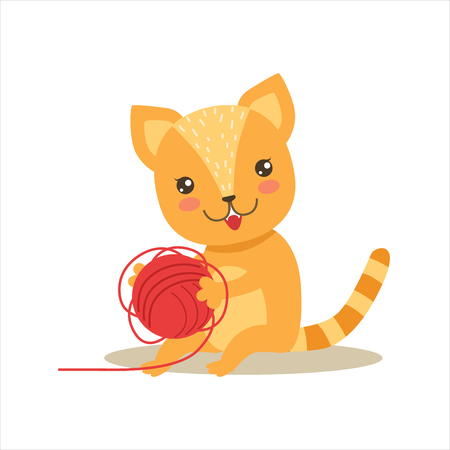 Red Little Girly Cute Kitten Playing With Clew Ball, Cartoon Pet Character Life Situation Illustration. Animal de bébé humanisé par chat et son activité Emoji Flat Vector Drawing