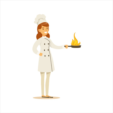 Woman Professional Cooking Chef Working In Restaurant Wearing Classic Traditional Uniform With Burning Frying Pan Cartoon Character