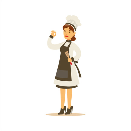 toque blanche: Woman Professional Cooking Chef Working In Restaurant Wearing Classic Traditional Uniform With Black Apron Cartoon Character Illustration