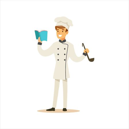 Man Professional Cooking Chef Working In Restaurant Wearing Classic Traditional Uniform With Recipe Book And Ladle Cartoon Character Illustration
