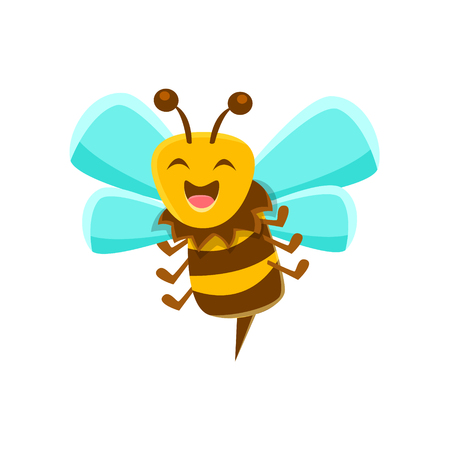 sting: Laughing Bee Mid Air With Sting, Natural Honey Production Related Carton Illustration Illustration