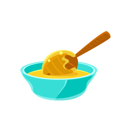 dipper: Bowl Of Honey WIth Honey Dipper, Natural Honey Production Related Carton Illustration