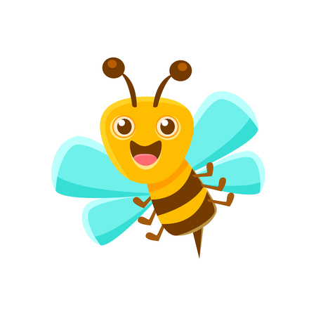 Happy Bee Mid Air With Sting, Natural Honey Production Related Carton Illustration