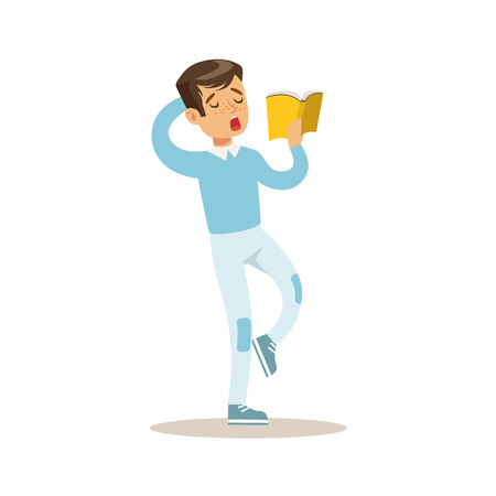 Boy In Blue Sweater Who Loves To Read, Illustration With Kid Enjoying Reading An Open Book