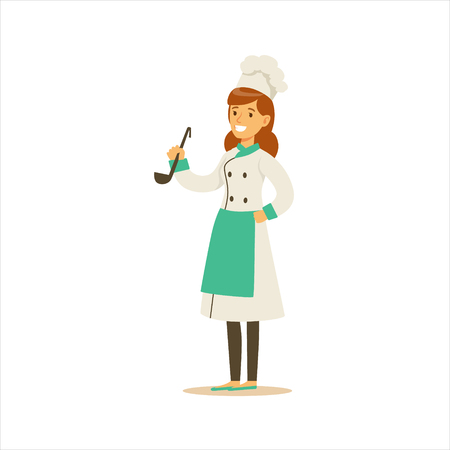 Woman Professional Cooking Chef Working In Restaurant Wearing Classic Traditional Uniform WIth Ladle Cartoon Character Illustration