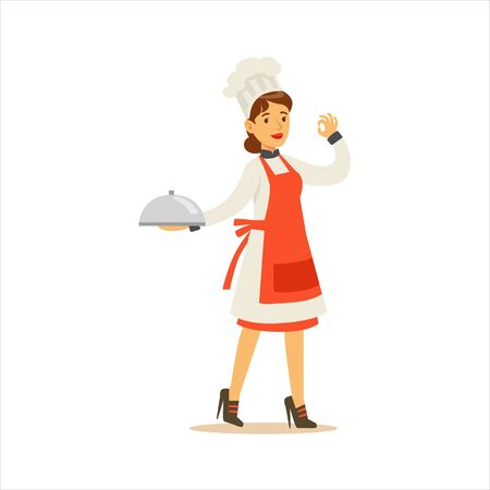 Woman Professional Cooking Chef Working In Restaurant Wearing Classic Traditional Uniform Showing OK Gesture Cartoon Character