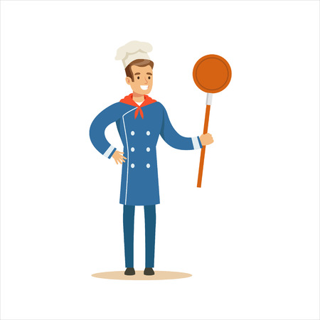 Man Professional Cooking Chef Working In Restaurant Wearing Classic Traditional Blue Uniform With Frying Pan Cartoon Character