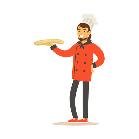 Man Professional Cooking Chef Working In Restaurant Wearing Classic Traditional Uniform WIth Pizza Dough Cartoon Character