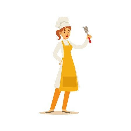Woman Professional Cooking Chef Working In Restaurant Wearing Classic Traditional Uniform With Spatula Cartoon Character Illustration Illustration