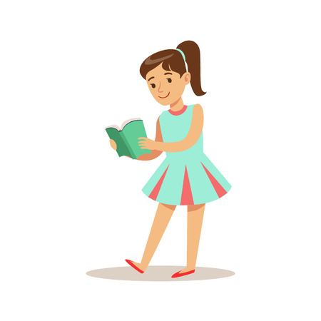 GirlIn Blue Dress Who Loves To Read, Illustration With Kid Enjoying Reading An Open Book