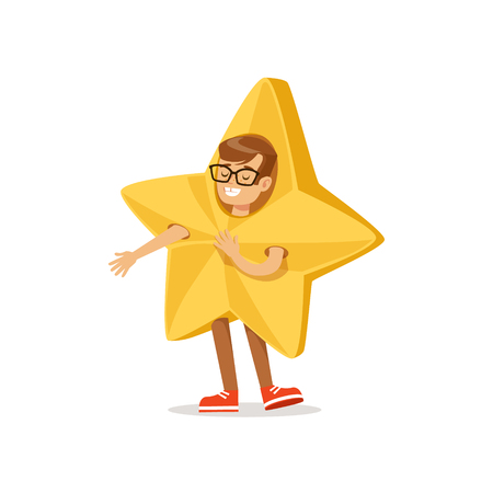 carnival costume: Boy In Golden Star Outfit Dressed As Winter Holidays Symbol For The Costume Christmas Carnival Party Illustration