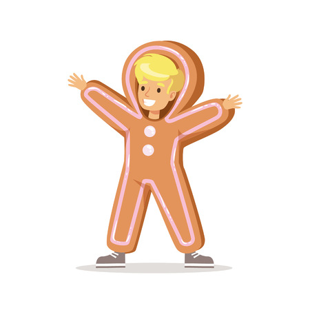 ginger bread man: Boy In Ginger Bread Man Outfit Dressed As Winter Holidays Symbol For The Costume Christmas Carnival Party
