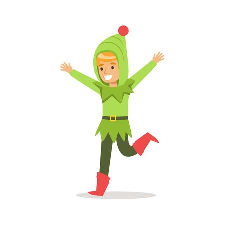 Garçon en capuche verte habillée en Père Noël Elfe de Noël pour la partie en carnaval fête Costume Banque d'images - 68492913
