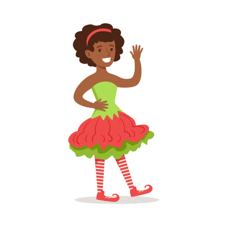 afro hairdo: Girl With Afro Hairdo Dressed As Santa Claus Christmas Elf For The Costume Holiday Carnival Party Illustration