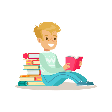 Boy Sitting With His Back Against Pile Of Books Who Loves To Read, Illustration With Kid Enjoying Reading An Open Book