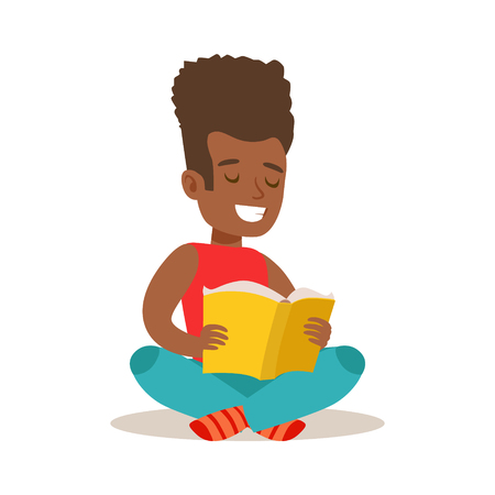 Boy With Afro Sitting With Legs Crossed On The Floor Who Loves To Read, Illustration With Kid Enjoying Reading An Open Book