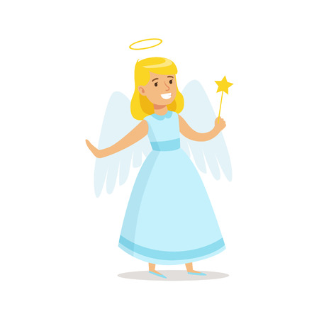 carnival costume: Girl In Angel Outfit Dressed As Winter Holidays Symbol For The Costume Christmas Carnival Party Illustration