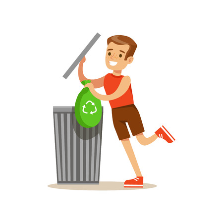 Boy Throwing Away Recycling Waste In Bin Bag Smiling Cartoon Kid Character Helping With Housekeeping And Doing House Cleanup