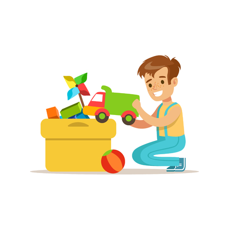 Boy Putting His Toys In Special Box Smiling Cartoon Kid Character Helping With Housekeeping And Doing House Cleanup