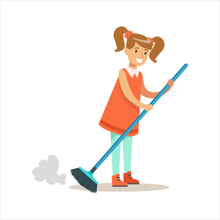 dust cloud: Grl Cleanning Floor Off Dust Smiling Cartoon Kid Character Helping With Housekeeping And Doing House Cleanup