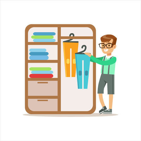 Boy Ranging Clothes In Dresser Smiling Cartoon Kid Character Helping With Housekeeping And Doing House Cleanup