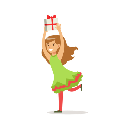 carnival costume: Girl Running With Present Dressed As Santa Claus Christmas Elf For The Costume Holiday Carnival Party Stock Photo