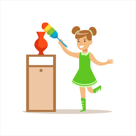 wiping: Girl Wiping The Dust From Vase With Brush Smiling Cartoon Kid Character Helping With Housekeeping And Doing House Cleanup Stock Photo