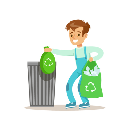 waster: Boy Throwng Away Bin Bags Filled With Plastic Bottles Smiling Cartoon Kid Character Helping With Housekeeping And Doing House Cleanup