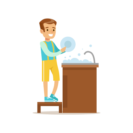 Boy Washing The Dishes Smiling Cartoon Kid Character Helping With Housekeeping And Doing House Cleanup