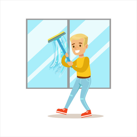cleanup: Boy Washing Windows With Squeegee Smiling Cartoon Kid Character Helping With Housekeeping And Doing House Cleanup Stock Photo