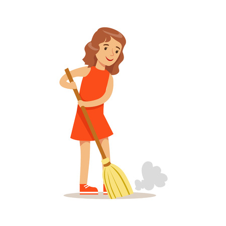 Girl Sweeping The Floor With The Broom Smiling Cartoon Kid Character Helping With Housekeeping And Doing House Cleanup