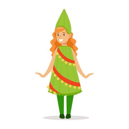 carnival costume: Girl In Christmas Tree Outfit Dressed As Winter Holidays Symbol For The Costume Christmas Carnival Party