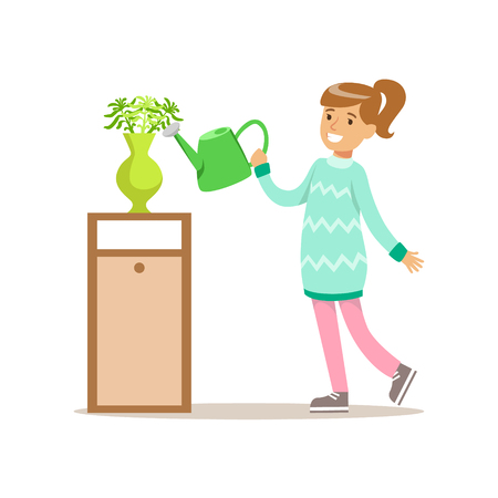 cleanup: Girl Watering Home Plants Smiling Cartoon Kid Character Helping With Housekeeping And Doing House Cleanup