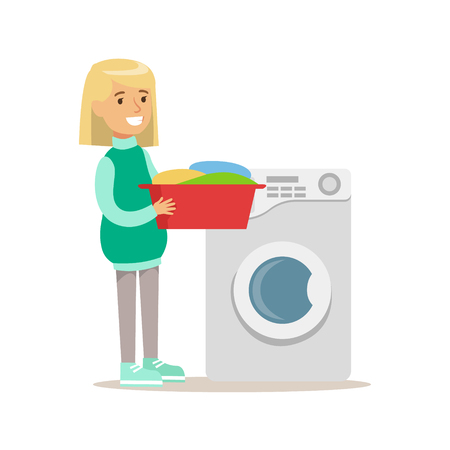 dirty clothes: Girl Loading Washing Machine With Clothes Smiling Cartoon Kid Character Helping With Housekeeping And Doing House Cleanup Stock Photo